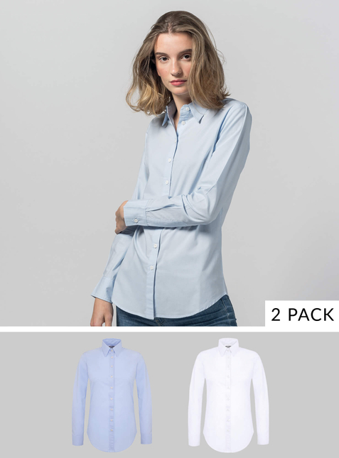 2-Pack Women's Shirt white/light blue