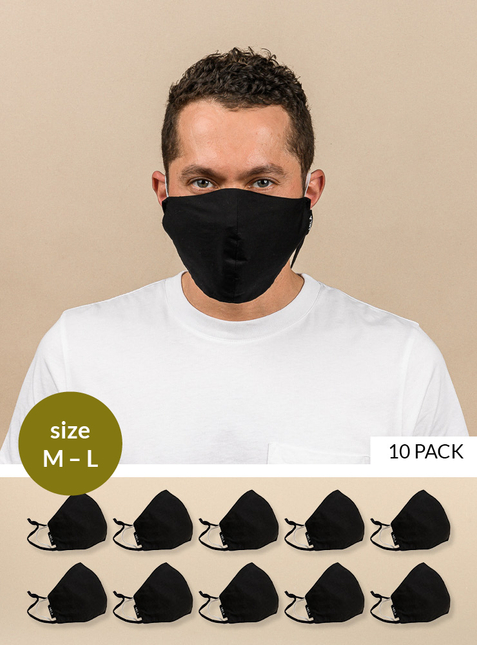 10-pack Mouth-nose mask - Size M-L - Toxin-free according to GOTS