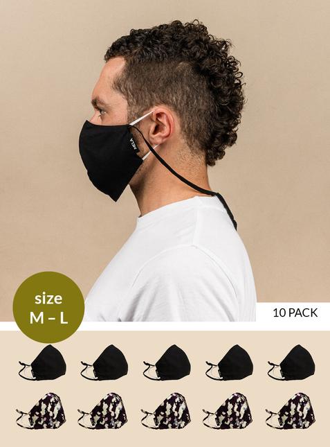 10er Pack Behelfs-Mund-Nasen-Maske - Größe M-L
