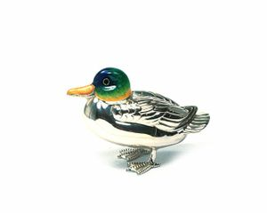 ENTE FIGUR STERLING SILBER EMAILLE