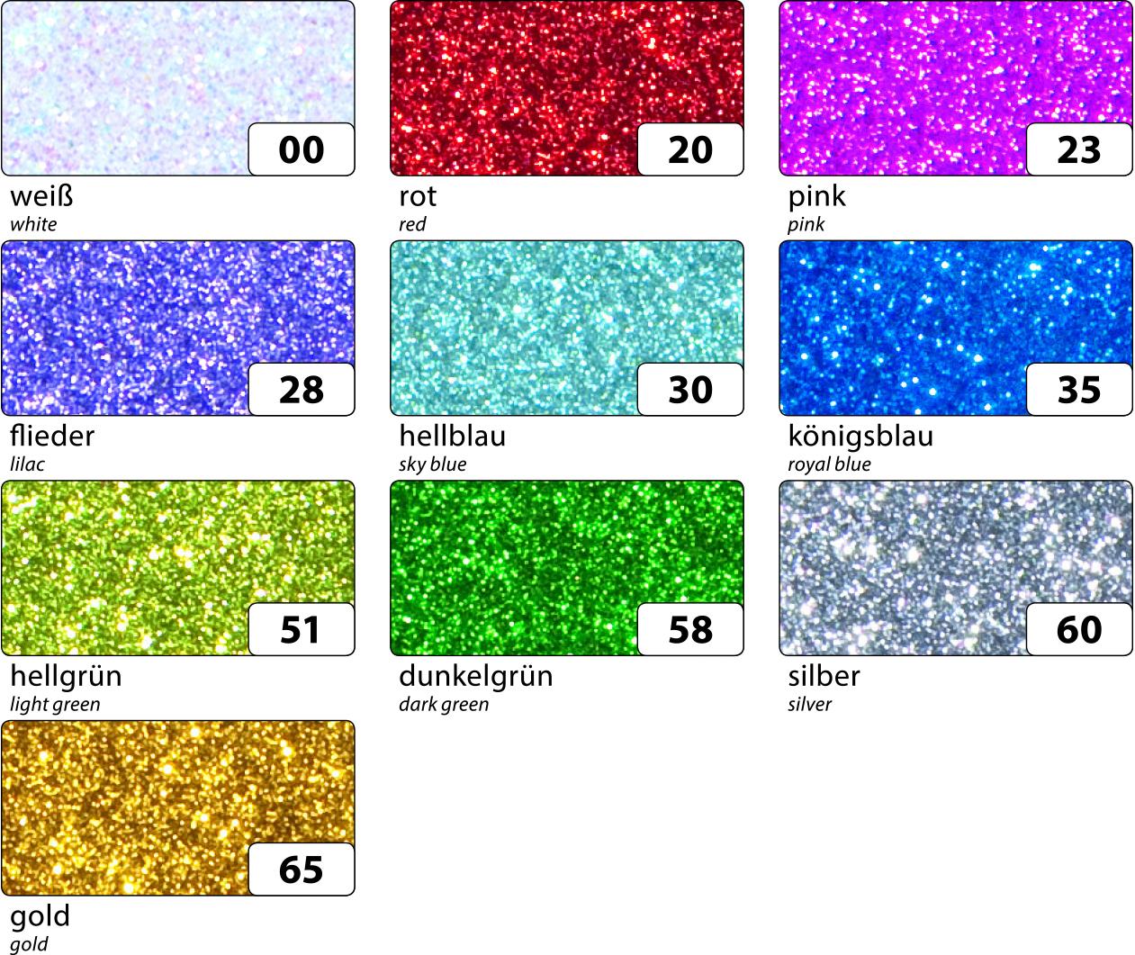Moosgummi  Glitter 29x20cm selbstklebend 5 Bogen je Fb.