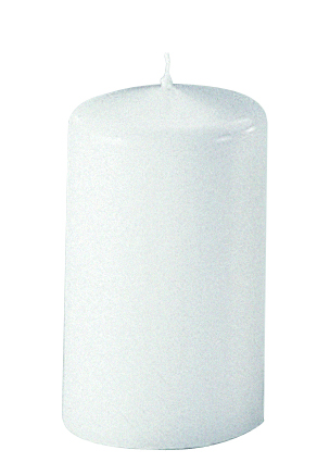 Stumpenkerze Safe Candle wei