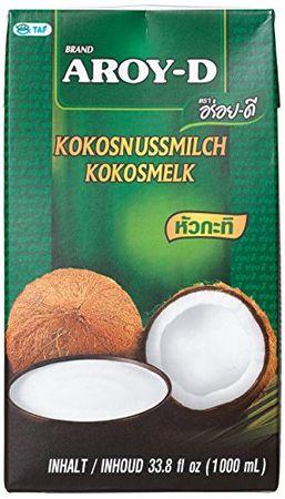AROY-D Kokosmilch (mit E435 - NEU: Schraubverschluss - Fettgehalt ca. 19% - Ideal zum Kochen, Backen, für Desserts und Cocktails) 6er Vorteilspack à 1 l