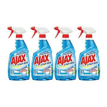 Ajax Glasreiniger 3-Fach Aktiv Antistreifen Anti Schmutz 500ml 4er Pack