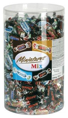 Miniatures Mix (Mars, Bounty, Twix, Snickers), ca. 296 Stück, Klarsichtdose - 3kg