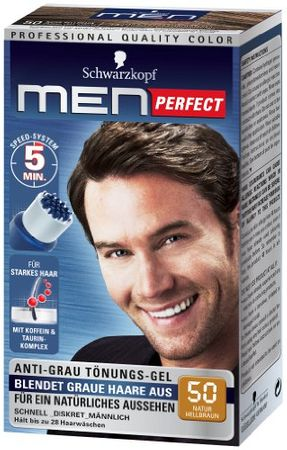 Schwarzkopf Men Perfect Anti-Grau Tönungs-Gel Stufe 2, 50 Natur Hellbraun