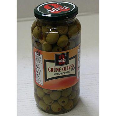 Adria Grüne Oliven mit Paprikapaste (935ml Glas)