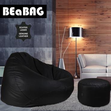 BEaBAG XXL Sitzsack Echtleder schwarz – Bild 4