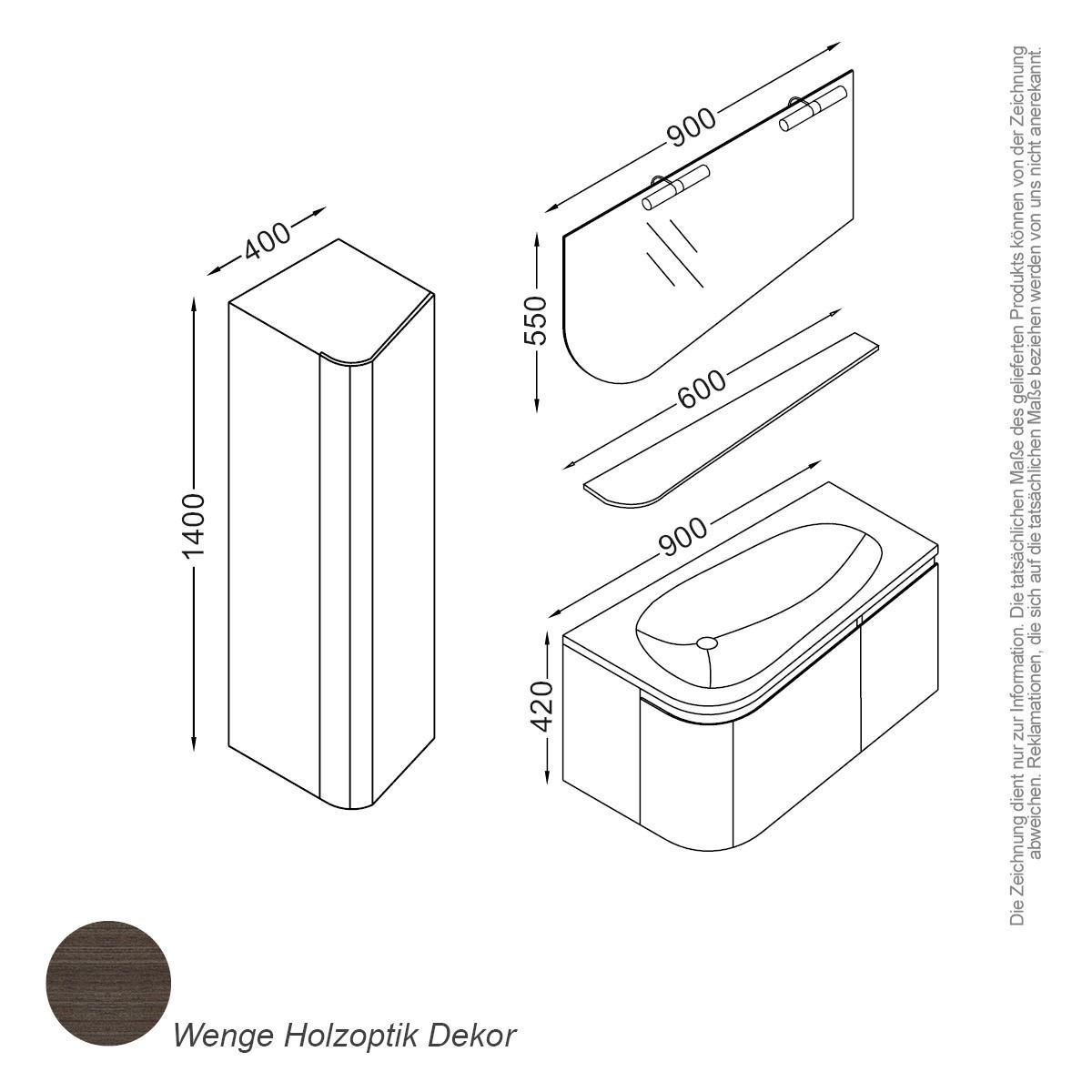 paket] monaco set 90 cm braun | four & more - onlineshop