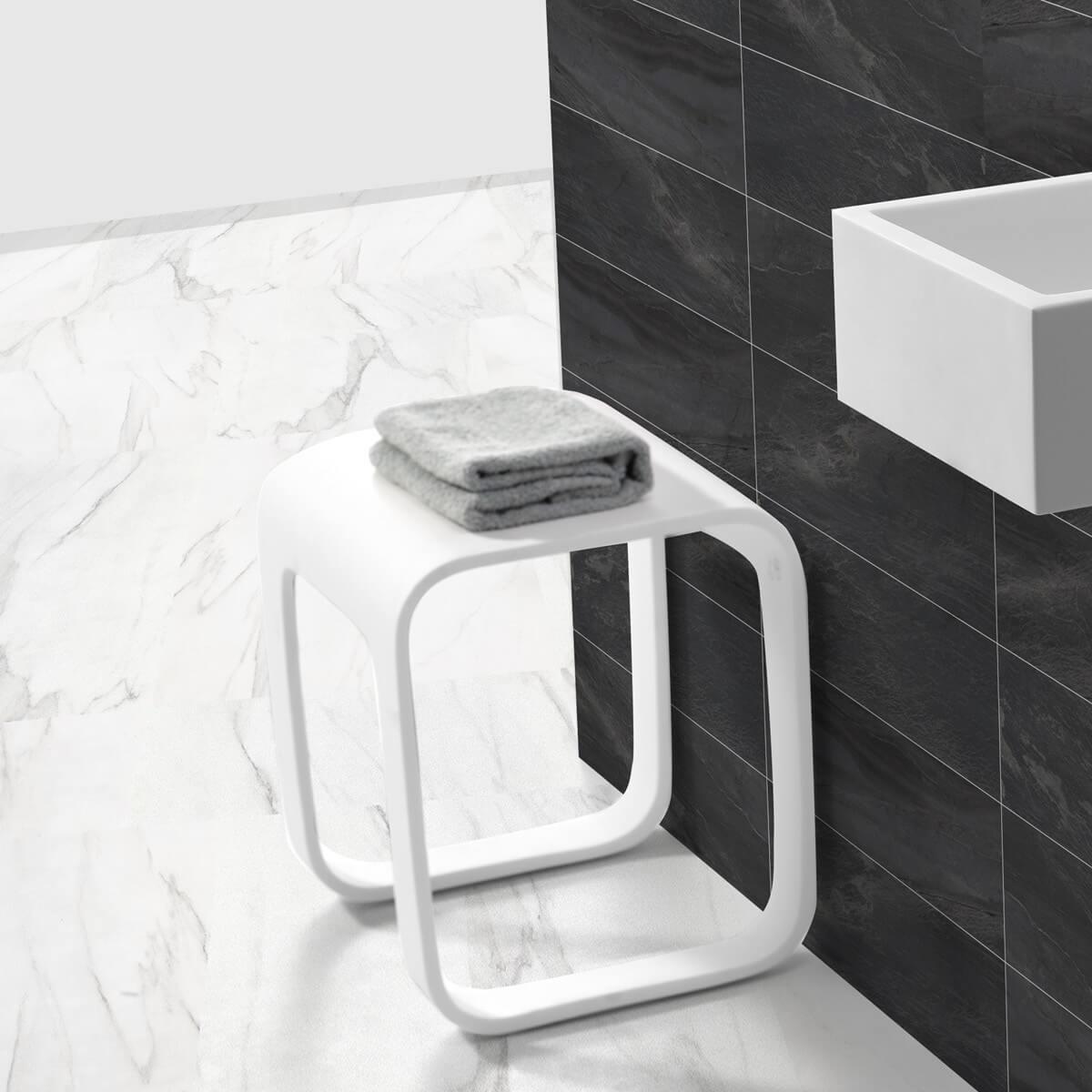 Détails sur Design Tabouret de Bain en Fonte Minérale Autoportante Chaise  Meuble Douche