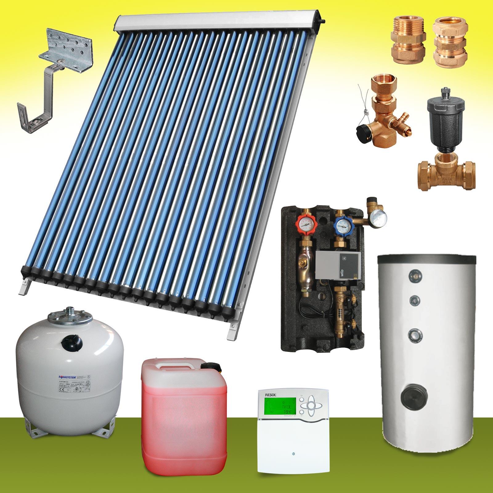 Komplettpaket 4 Bis 8m Solaranlage Warmwasser Speicher 200 300 400