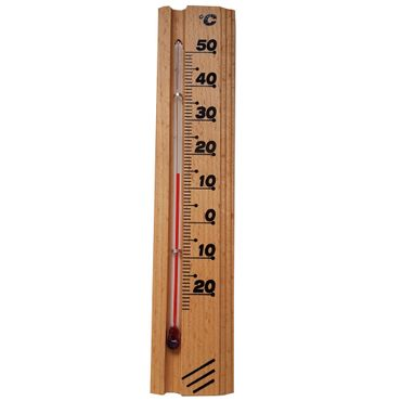proheim Zimmer Thermometer Buche 20 CM robustes Holzthermometer 011566