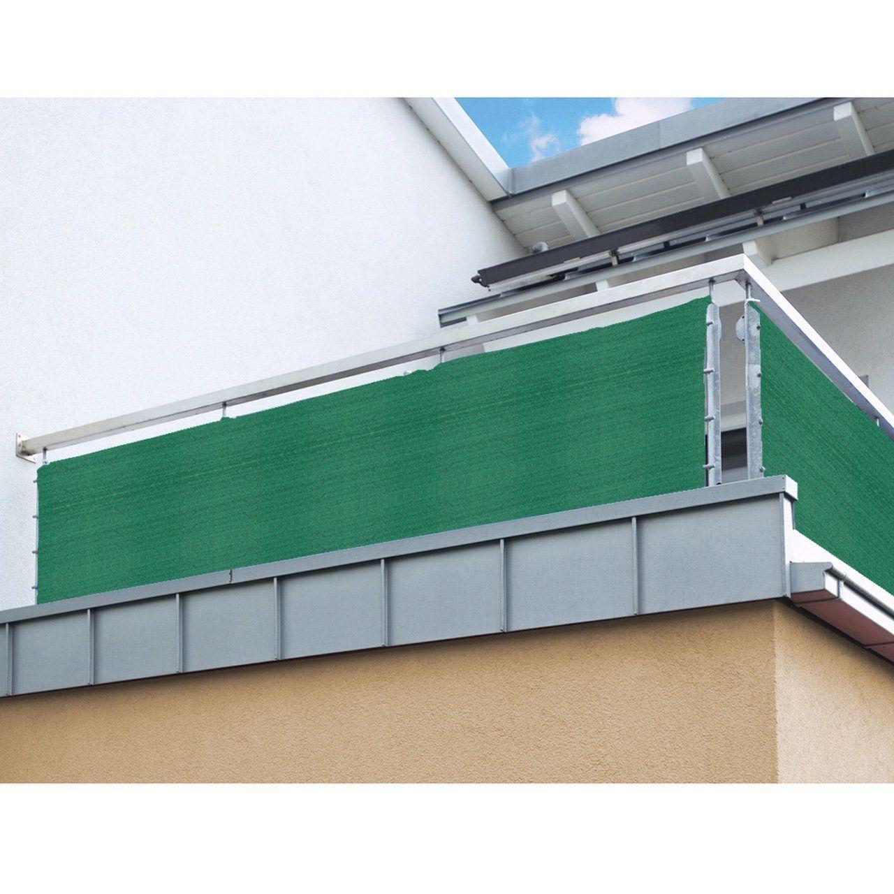 Top proheim Balkon Sichtschutz 0,8 m - METERWARE Grün HDPE Gewebe MO78