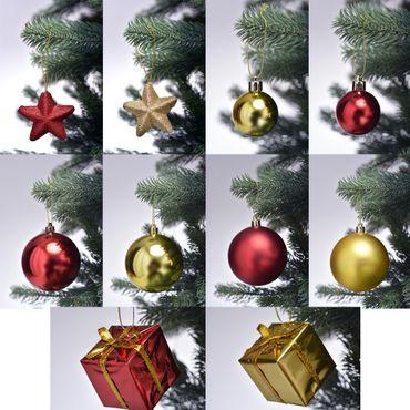 Weihnachtsbaum Schmuck in Rot / Gold mit Kugeln und Sternen im Set