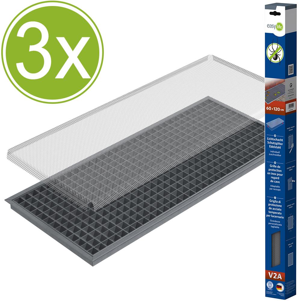 3er set easy life edelstahl gitter 60 x 120 cm schutz f r. Black Bedroom Furniture Sets. Home Design Ideas
