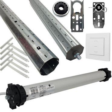 proheim Rolladen-Komplett Set: Rohrmotor PH60M-20-15 + 150cm Rolladenwelle + Zubehör