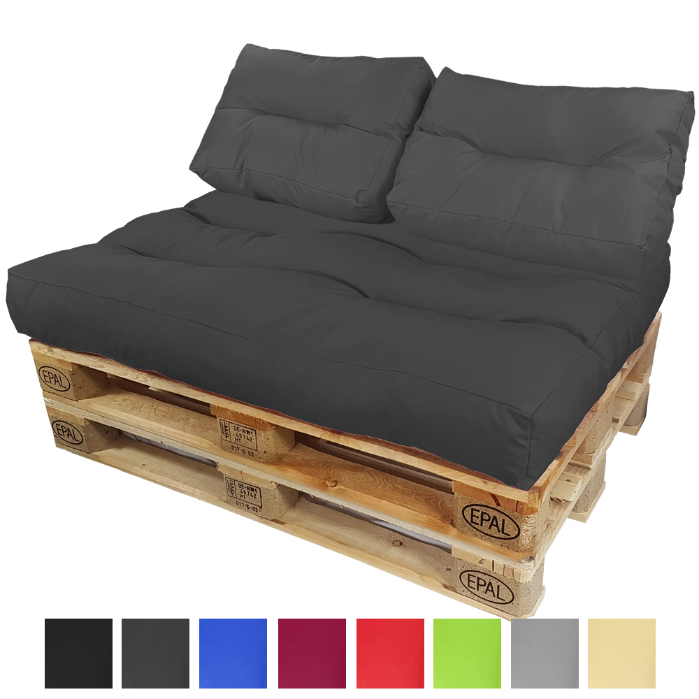 coussins de palette set si ge dossier rembourrage pour palettenauflage ebay. Black Bedroom Furniture Sets. Home Design Ideas