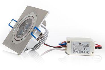LED Einbaustrahler 3 Watt, 290 Lumen, warmweiß, Rahmen eckig Alu gebürstet, inkl. Transformator