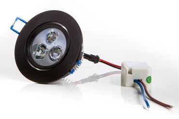 LED Einbaustrahler 3 Watt, 300 Lumen, tagesweiß,  Rahmen rund Alu schwarz, inkl. Transformator
