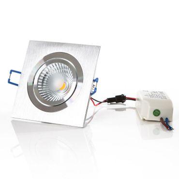 LED Einbaustrahler 7 Watt, 540 Lumen, warmweiß,  Rahmen eckig Alu-gebürstet, inkl. Transformator
