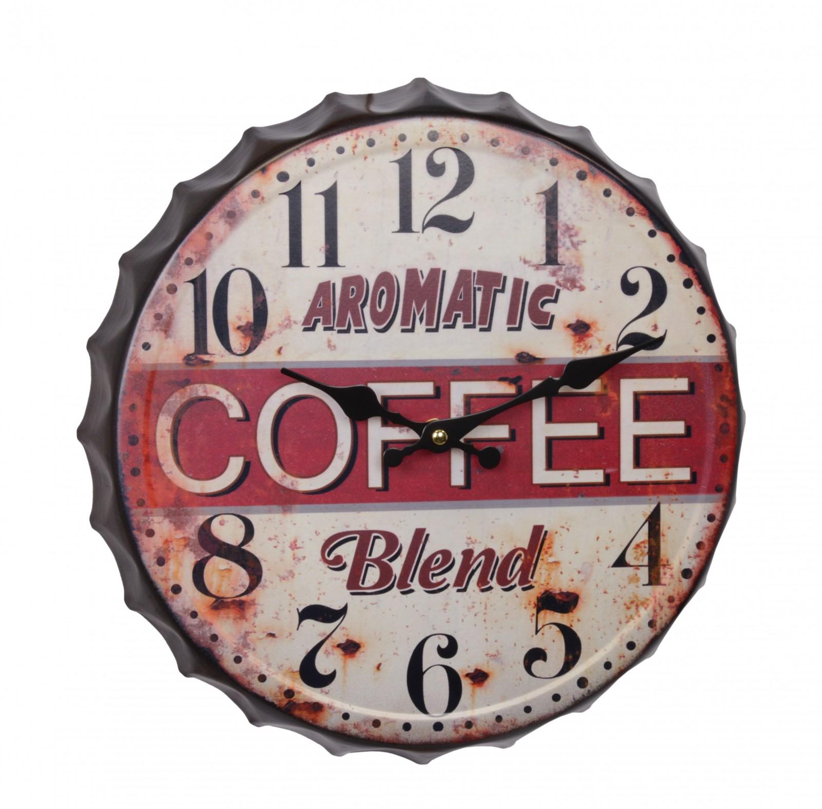 Wanduhr Küche Aromatic Coffee Flaschenverschluss Wanddeko Uhr Vintage 33,2  cm | Ellas-Wohnwelt.de