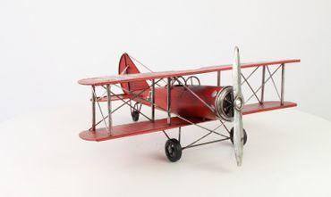 Vintage Weißblech Flugzeug Modell Spielzeug Doppeldecker Militär für Heim Dekor
