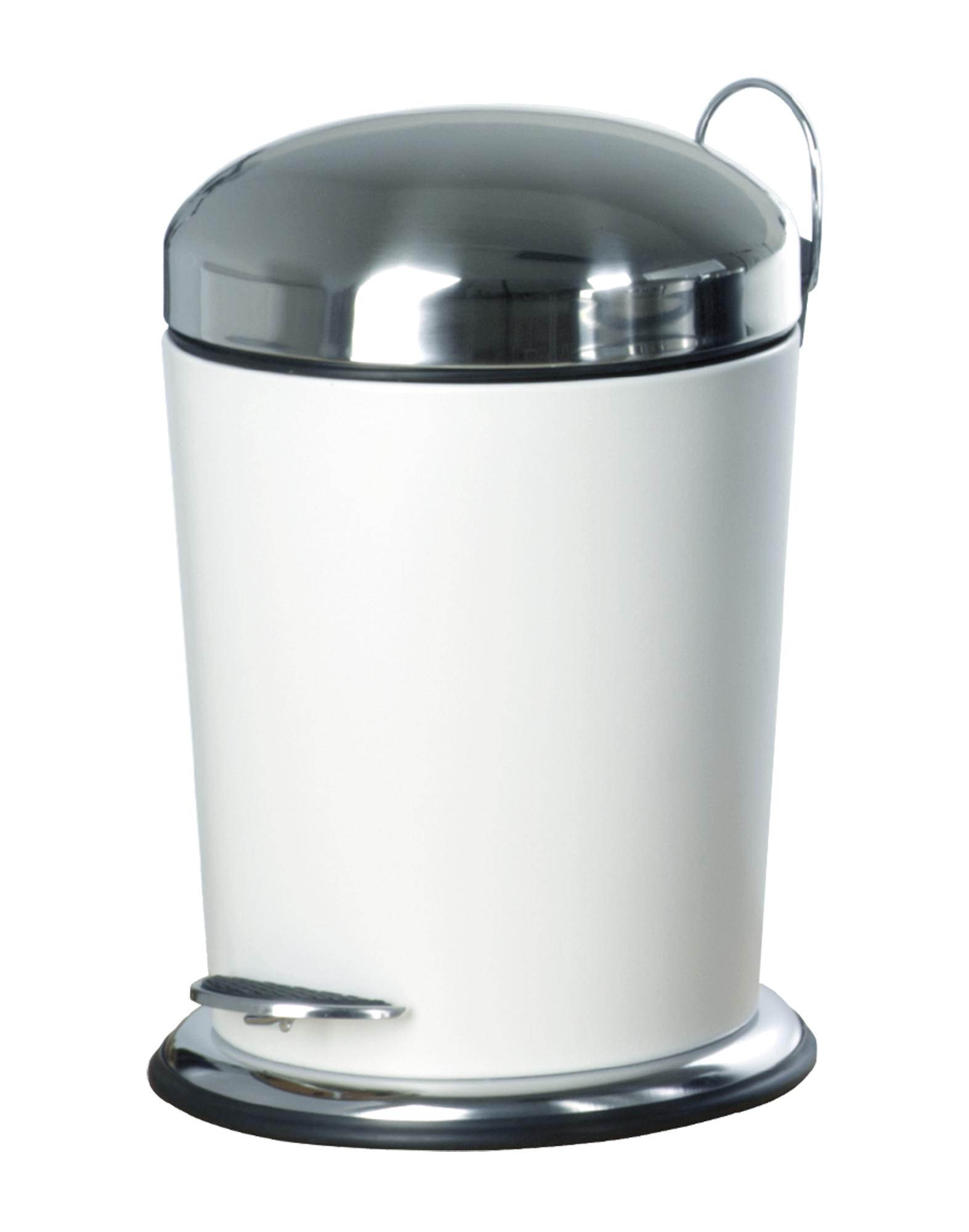 Nicol 1466026 Treteimer Sven Weiss Pulverbeschichtet Bad Abfalleimer 5 Liter Kosmetikeimer Mit Anti Flecken Beschichtung
