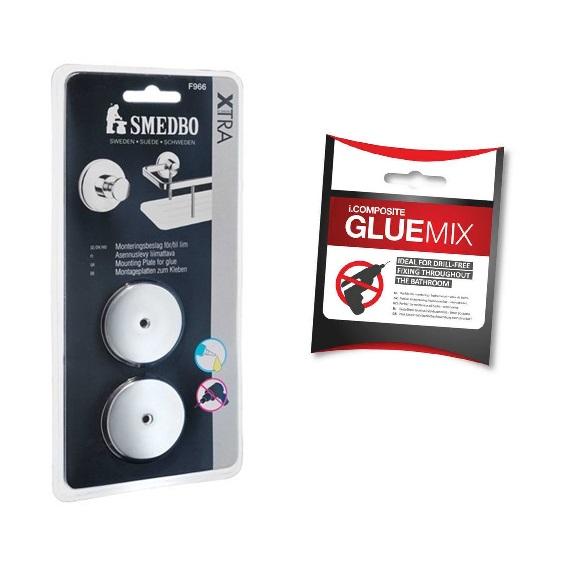 SMEDBO XTRA Montageplatte 2 Stk Duschkörbe mit Kleber  i.COMPOSITE GLUEMIX