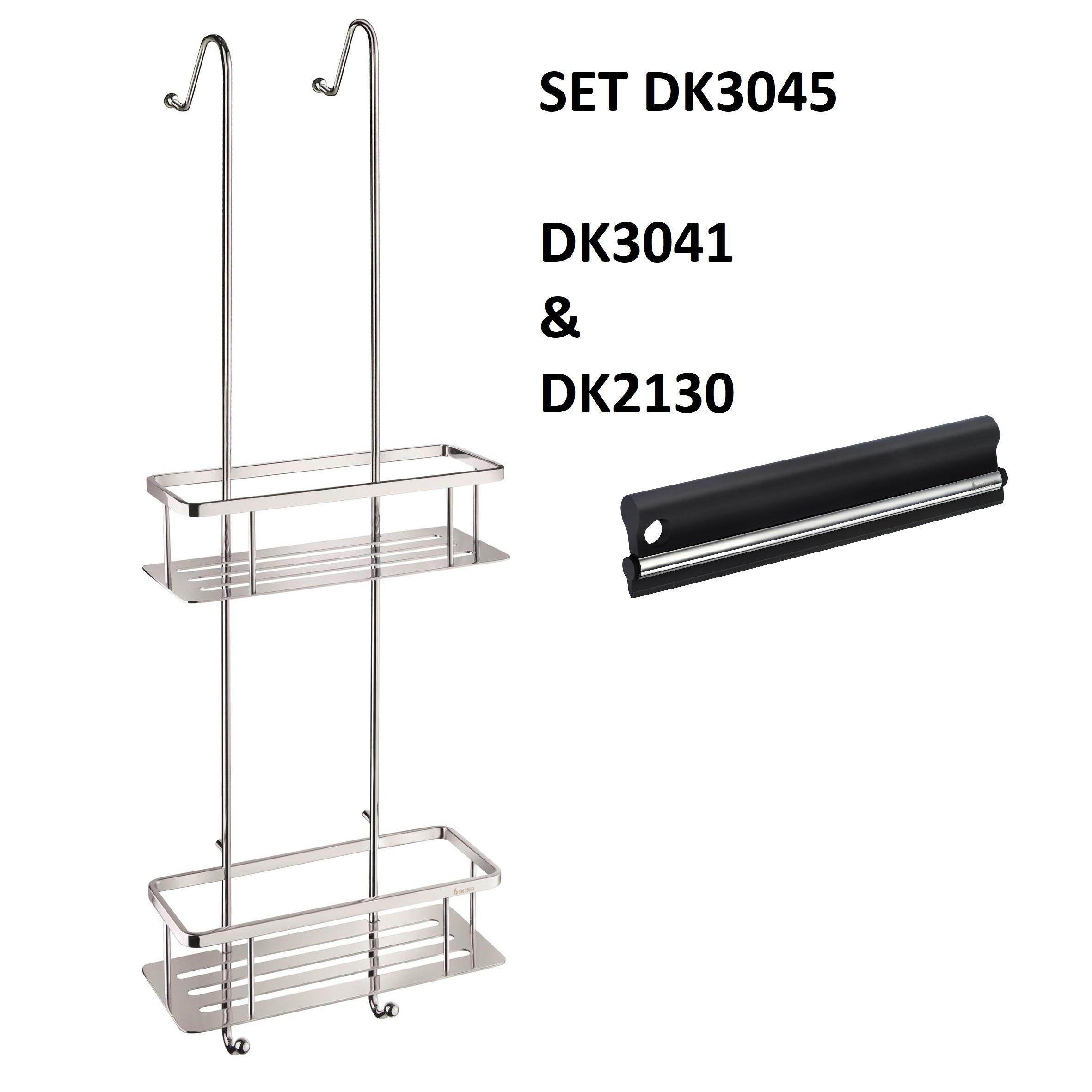 SMEDBO SIDELINE Duschkorb doppelt mit Bodenplatten messing verchromt glänzend Seifenkorb DK3041 mit Abzieher DK2130