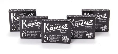 Kaweco Fountain Pen Ink Cartridges short, Pearl Black (Black), 30 pc.