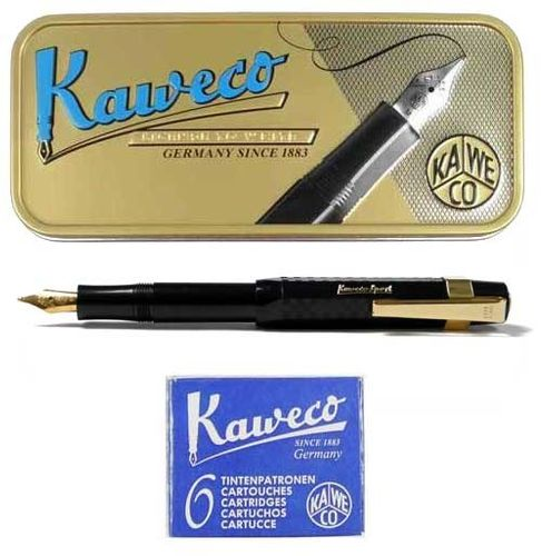 Kaweco Sport Chess Set Fountain Pen black EF + Cartridges and Clip – image 1