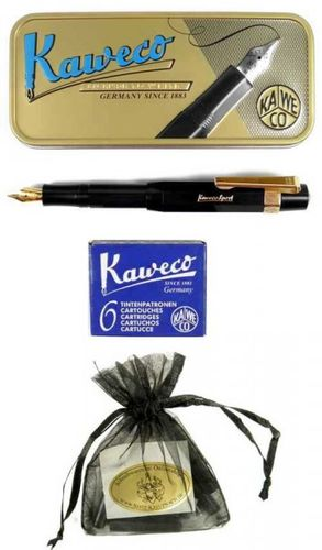 Gift Set Kaweco Sport Classic Fountainpen black EF including clip and cartridges – image 1