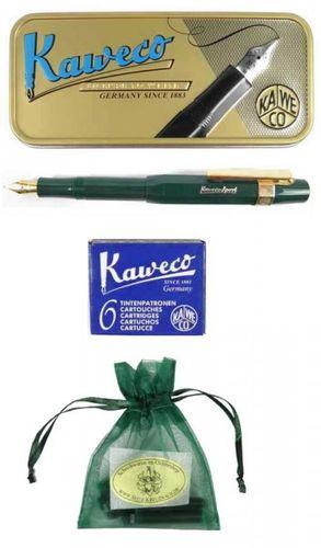 Geschenkset Kaweco Sport Classic Füllhalter grün, B-Feder, mit Patronen und Clip – Bild 1