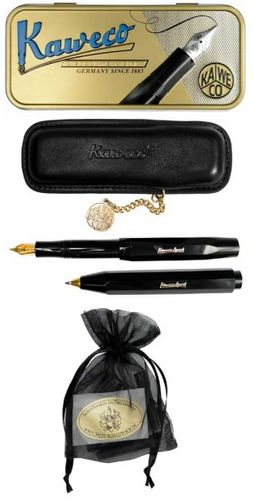 Kaweco Sport Classic Set Ballpoint Pen, Fountain Pen BB black inc leather case & cartridges – image 1