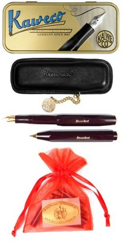 Kaweco Sport Classic Set Ballpoint / Fountain Pen F bordeaux + case & cartridges – image 2
