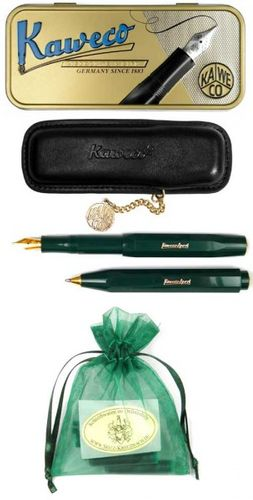 Kaweco Sport Classic Set Ballpoint / Fountain Pen B green inc case & cartridges – image 2