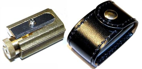 DUX Pencil and crayon Sharpener made of brass in a genuine leather case – image 1