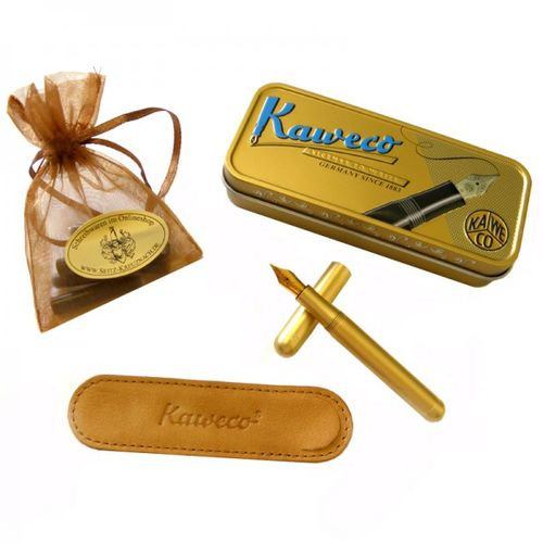 Kaweco Liliput fountain pen brass set with golden Nib: M – image 1
