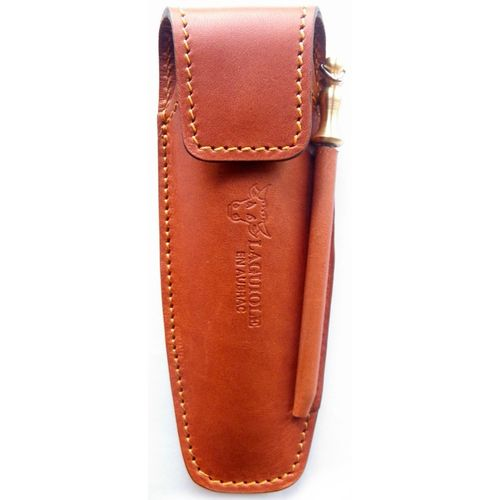 Laguiole en Aubrac Leather sheath and whetstone, hand crafted in France,Brown – image 1
