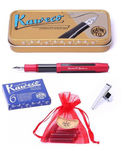 Gift Set Kaweco AC Sport fountain pen red Pen Nib: BB (extra bold) – image 1