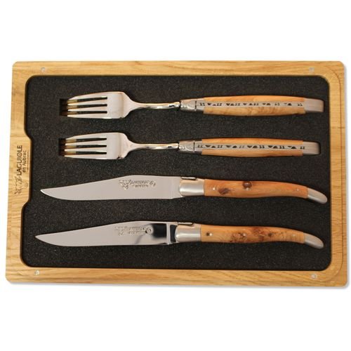 Laguiole en Aubrac 2x Set Table Knife and Dinner Fork, olive wood, CCF99OLIH – image 1