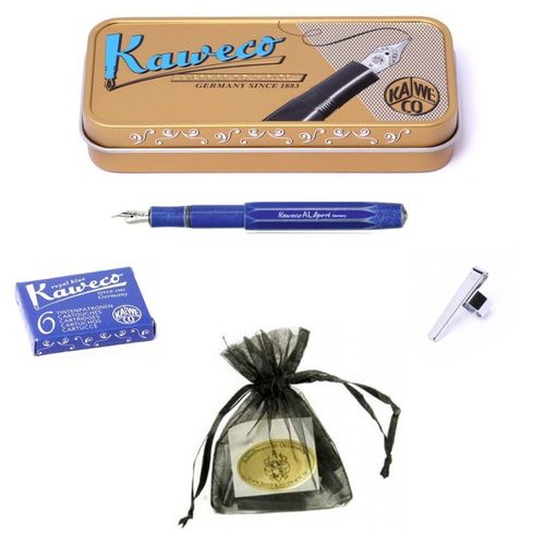 Kaweco Sport AL stonewashed B fountain pen blue Pen Nib: B (bold) Set – image 1