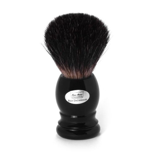Shaving brush grey badger, black handle - Hans Baier Exclusive