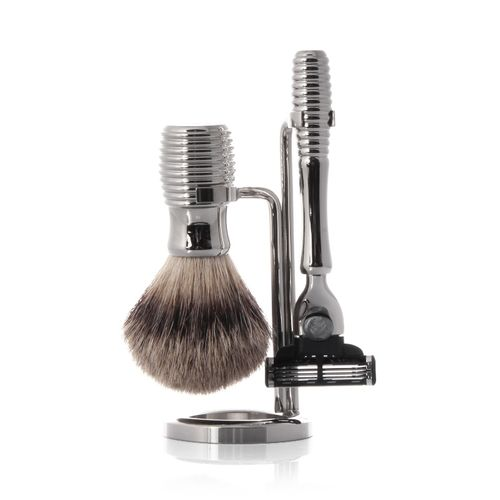 Hans Baier - Shaving Set Razor, Shaving Brush Silvertip, Holder Metal