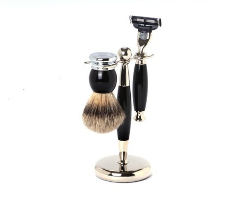 Hans Baier - Shaving Set Razor, Shaving Brush Silvertip, Holder black/chrome
