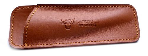 Laguiole en Aubrac Leather sheath, handcrafted, for 12cm Handle, PCA /Brown – image 2