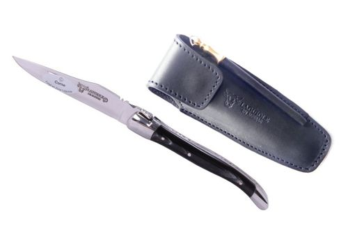 Laguiole en Aubrac Pocket knife, Horn, 10cm + Leather Etui and Sharpening Steel – image 1
