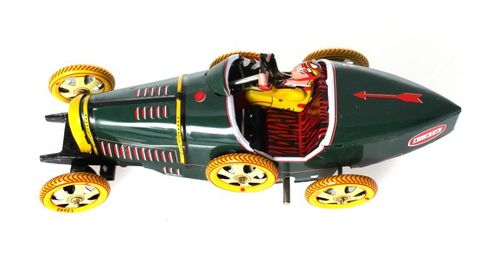 Bugatti T-35 Racer, green, 17 cm - Nostalgic wind-up Tin Model – image 4