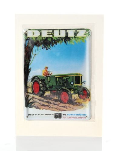 Deutz Tractor 60 HP Retro Tin Card - 8 x 11 cm - with postcard – image 1
