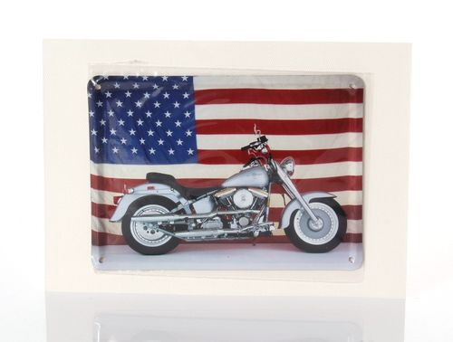 Bike US Flag Retro Tin Card - 8 x 11 cm - with postcard – image 1